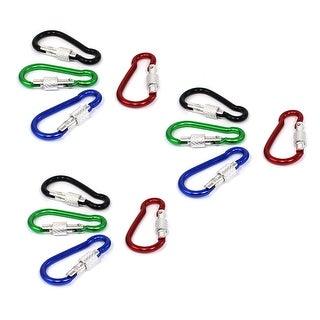 Unique Bargains Camping Bag Hanging Aluminium Key Ring Chain Carabiner Multicolor 12 Pcs