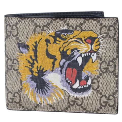 89cb13d2e Gucci Men's Beige GG Supreme Canvas Angry Bengal Tiger Bifold Wallet -  measures 4.25 x 3.5