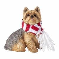 Yorkshire Terrier With Red And White Scarf Christmas Ornament
