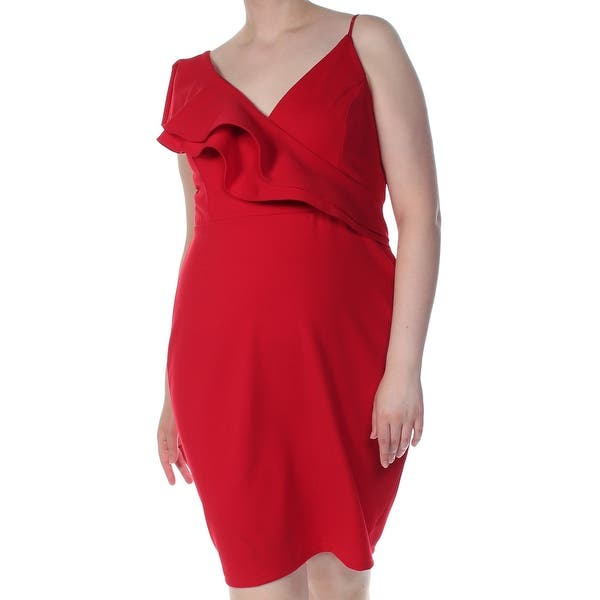 SOPRANO Womens Red Ruffled V Neck Above The Knee Shift Formal Dress Plus  Size: 1X