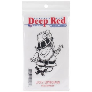 Deep Red Stamps Lucky Leprechaun Rubber Cling Stamp - 2.2 x 3