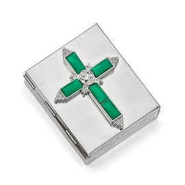 Silvertone Crystal & Green Glass Enameled Cross Rosary-box