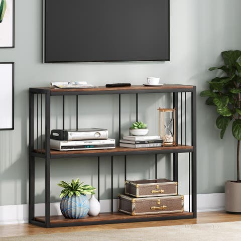TV Stand, Industrial Entertainment Center for TV 32inch, 40inch, 43 inch, TV Console Table, Retro Brown