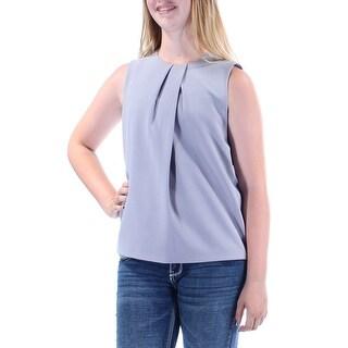 ANNE KLEIN $79 Womens New 1060 Gray Pleated Sleeveless Jewel Neck Vest Top 8 B+B