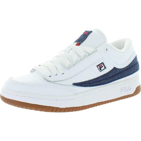 Fila Mens T-1 Mid Denim Walking Shoes Leather Low Top - White/Fila Navy/Fila Red