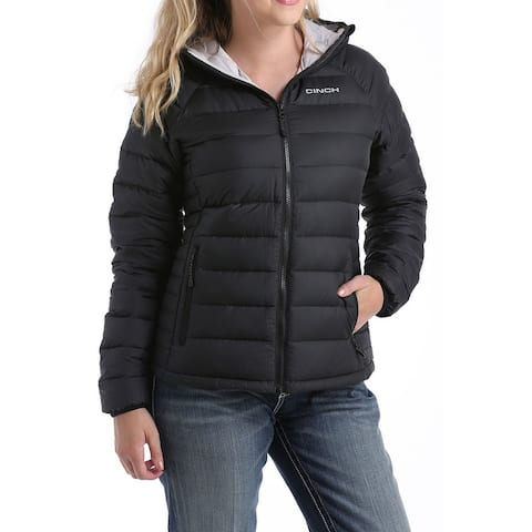 Cinch Western Jacket Womens Quilted Logo Hood Zip Black