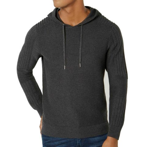 INC Mens Sweater Heather Onyx Gray Size 2XL Ottoman Ribbed Knit Hoodie
