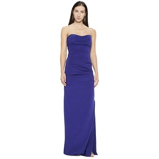 Nicole Miller Ruched Fitted Strapless Evening Gown Dress - 0