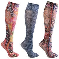 Women's Mild Compression Printed Knee High Stockings - Paisley & Lace Set of 3 Asst - One size