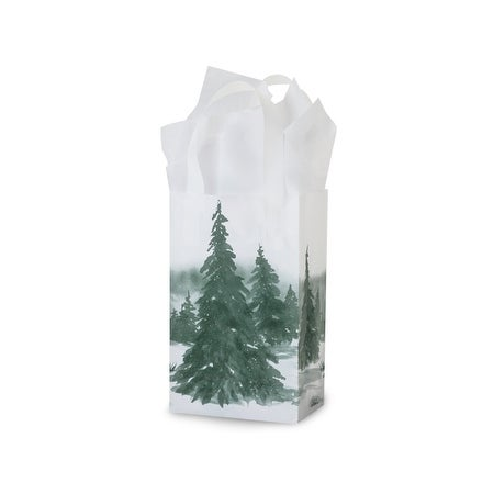"Pack of 200, Rose Winter Landscape Plastic Bags 3 Mil Bags 5.25 X 3.25 X 8.5"" For Christmas Packaging"