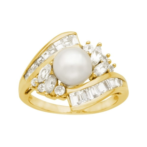 Pearl and White Sapphire Ring in 10K Gold