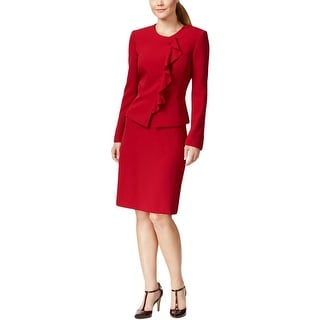 Tahari ASL Womens Zackary Skirt Suit Peplum Cascade Ruffle