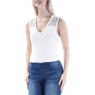 RACHEL ROY $79 Womens New 1219 Beige Cut Out Sleeveless V Neck Sweater S B+B
