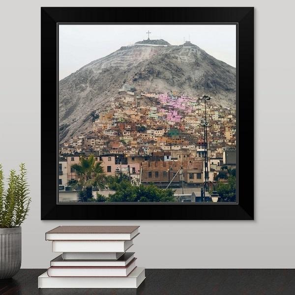 """""""San Cristobal Hill in Lima."""" Black Framed Print"""