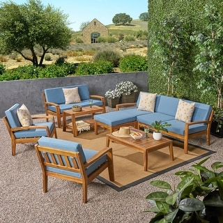 Christopher Knight Home Grenada Outdoor 7-Seater Acacia Wood Sectional Sofa Set