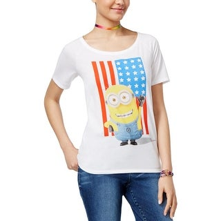Despicable Me Womens Juniors Americana T-Shirt Short Sleeve Graphic-Print - S