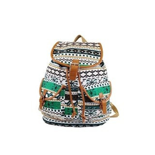 Hearty Trendy Girls Ivory Black Motif Print Flap Pockets Cotton Canvas Backpack