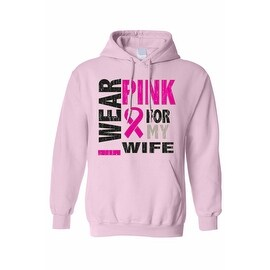 Unisex Pullover Hoodie Breast Cancer Awareness I Wear Pink For My Wife