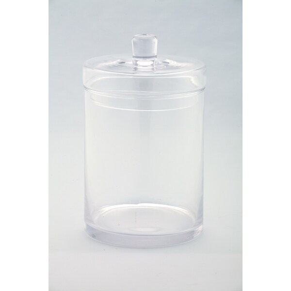 """10"""" Clear Cylindrical Hand Blown Glass Jar with Finial Lid - N/A"""