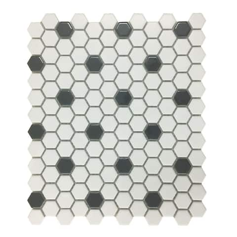 Glossy White & Black Floor Tile Porcelain Mosaic Hexagon 1 Sheet 10.25 x 11.8