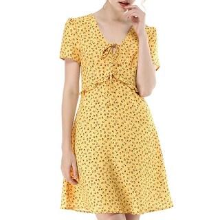 Link to Allegra K Women's Floral V Neck Shorts Sleeves Ruffle Dress Similar Items in Dresses