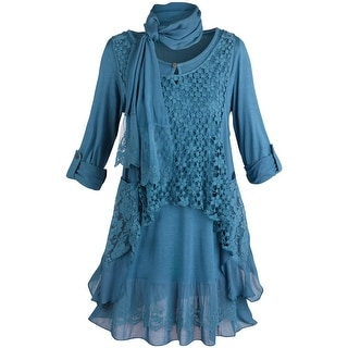 Women's Tunic Top Set - Clouds Of Lace 2 Piece Shirt And Vest