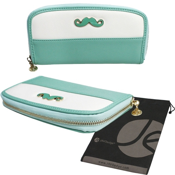 Mustache Clutch Style Zipper Wallet Case and Phone Holder with Bonus Storage Bag