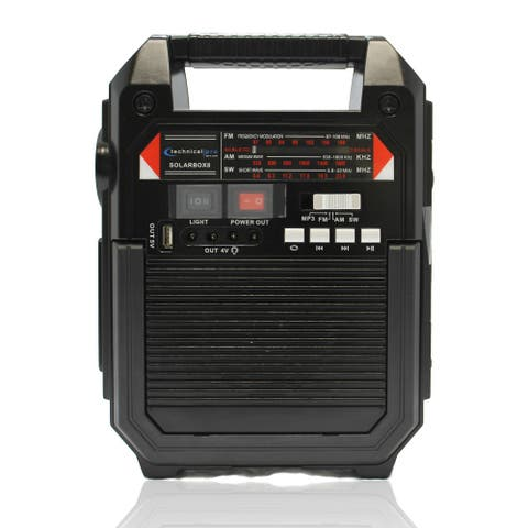 Technical Pro 9-in-1 Solar-powered Rechargeable Bluetooth Speaker with Lighting Unit, Power Bank, AM/FM Radio & more