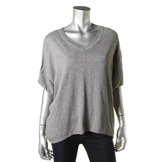 T Tahari Womens Sidney Hi-Low Heathered V-Neck Sweater - L