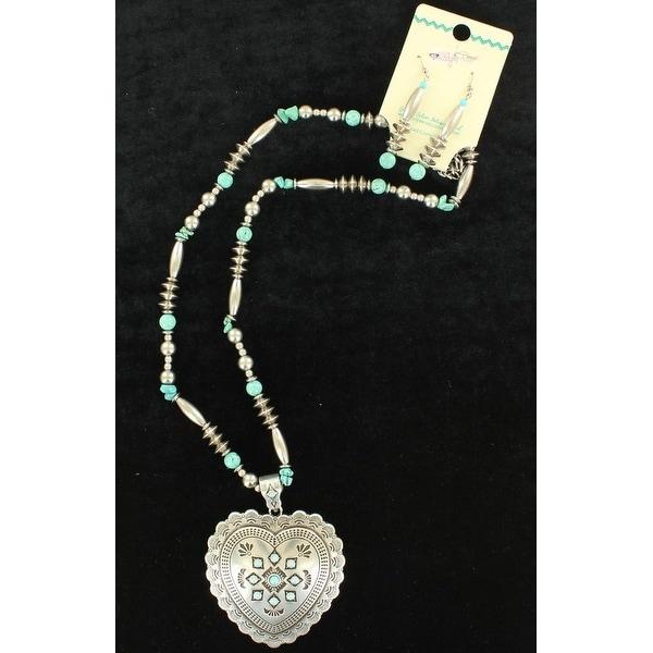 Blazin Roxx Jewelry Womens Necklace Earrings Heart Silver Turq 29078