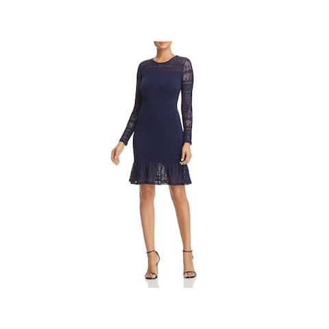 2143d13e96e MICHAEL Michael Kors Womens Flounce Dress Lace Trim Knee-Length