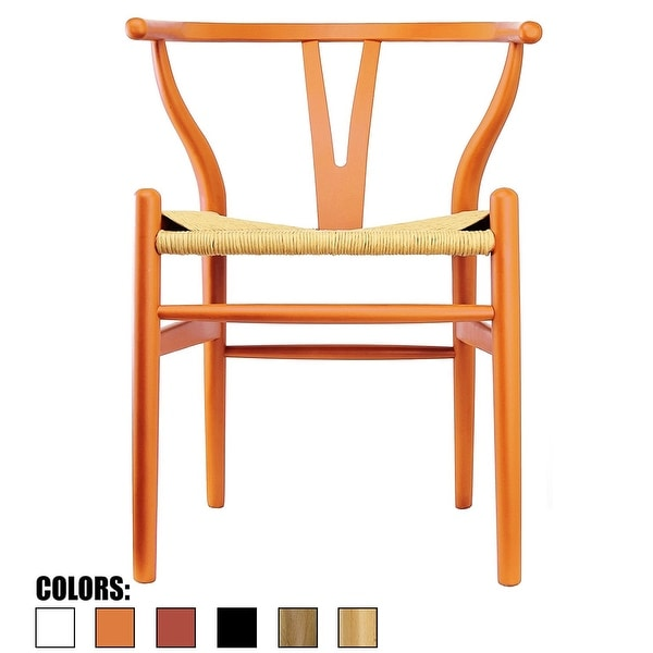 2xhome Orange Modern Style Wood Armchair - Dining Room Chair with Natural Papercord Woven S