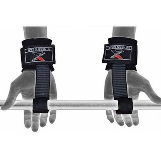 Heavy Duty Lifting Straps Neoprene Padded Wrist Wraps Rubberized Grip - Black