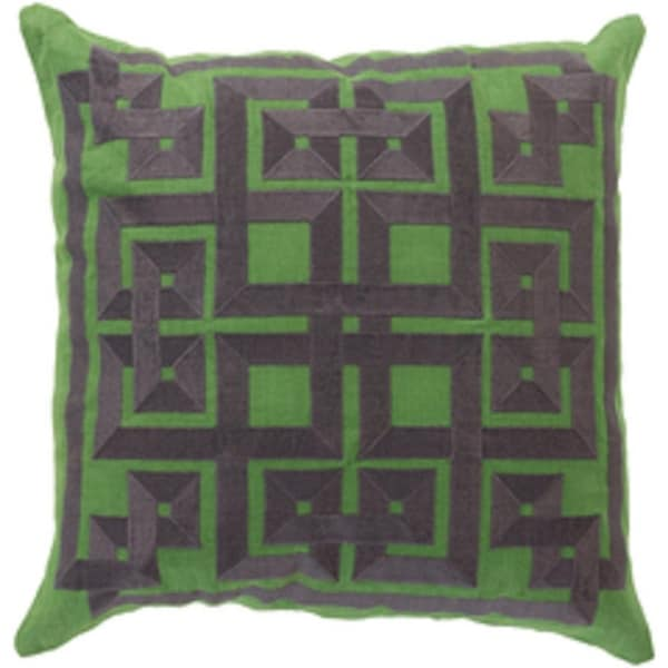 """22"""" Scrollier Charcoal Gray and Green Alemeda Decorative Square Throw Pillow - Down Filler"""