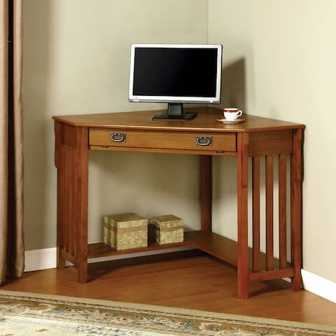 Furniture of America Cruff Cottage Oak 32-inch 1-drawer Corner Desk