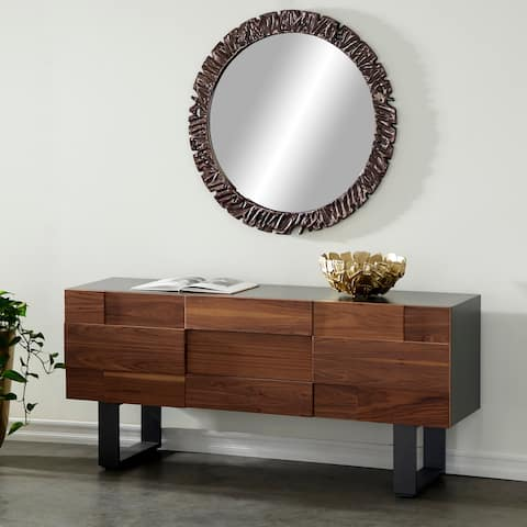 Contemporary Natural Wood Console with 2 Cabinets, 3 Drawers - 71 x 19 x 32