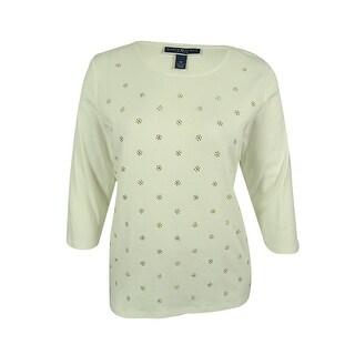 Karen Scott Women's Embellished 3/4 Sleeve Top - Winter White