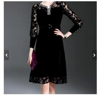 Velvet plus lace black knee length dress