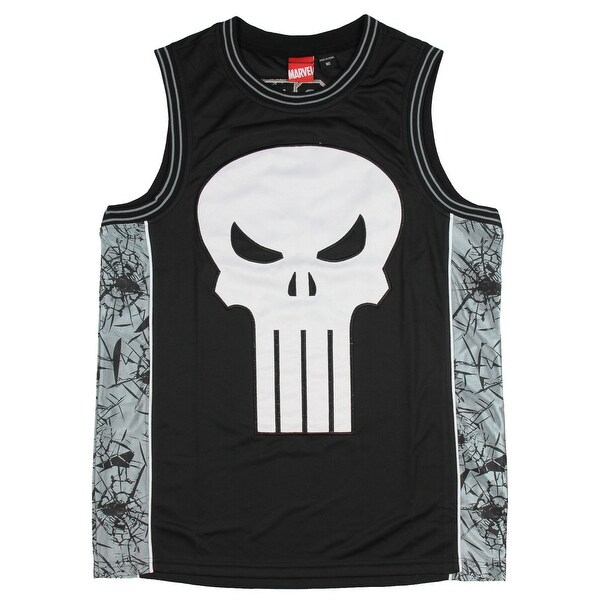 c1310259d7b551 Shop Marvel Men s The Punisher Frank Castle Basketball Jersey Tank Top Shirt  - Free Shipping On Orders Over  45 - Overstock - 20736195