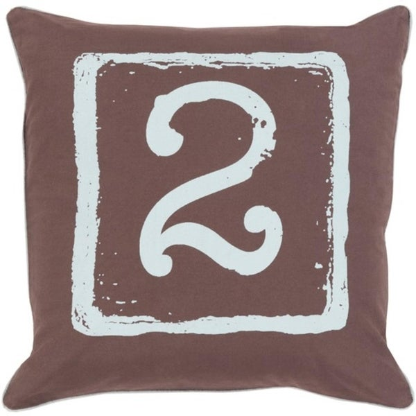 "20"" Chocolate Brown and Sky Blue ""2"" Big Kid Blocks Throw Pillow-Down Filler"