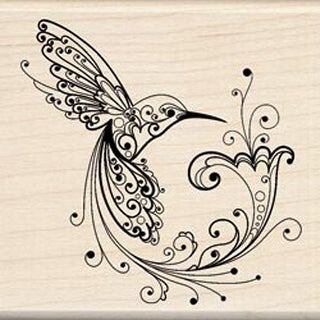 "Hummingbird - Inkadinkado Mounted Rubber Stamp 3""X3"""