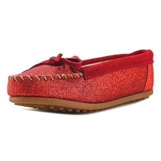 Minnetonka Glitter Moc Youth Round Toe Leather Loafer (Option: 2)