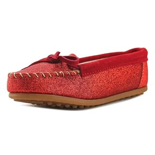 Minnetonka Glitter Moc Youth Round Toe Leather Loafer
