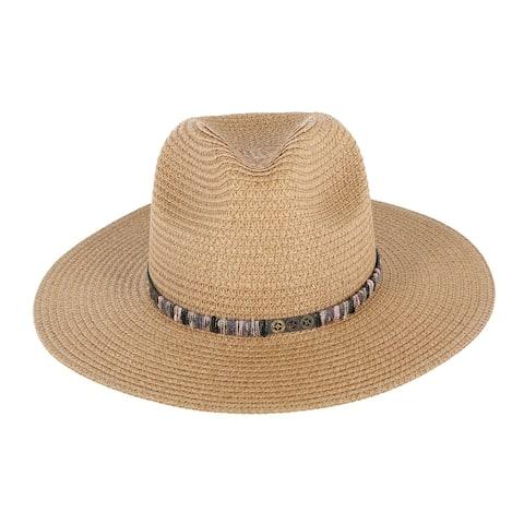 Jacobson Hat Company Women's Swen Safari Hat with Decorative Hatband - Natural