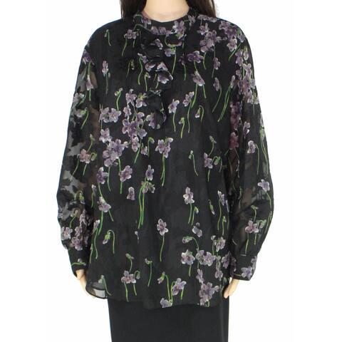 Lauren By Ralph Lauren Womens Blouse Black Size 20W Plus Ozarra Floral
