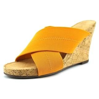 Aerosoles Party Plush Open Toe Canvas Wedge Sandal