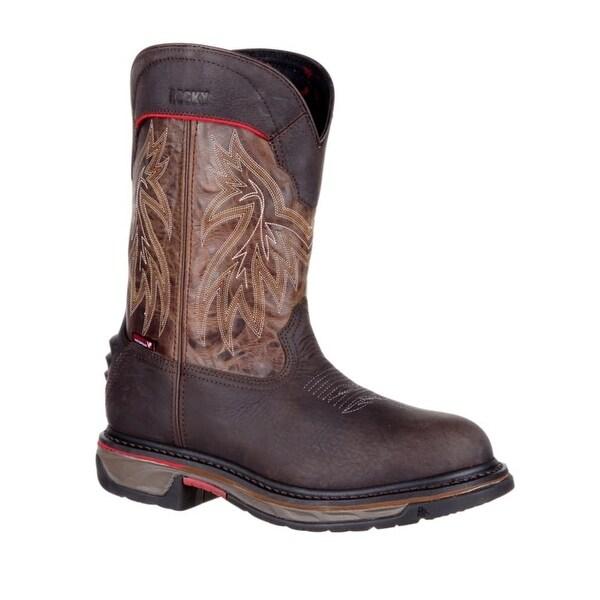 Rocky Western Boots Mens Waterproof Iron Skull Dark Brown
