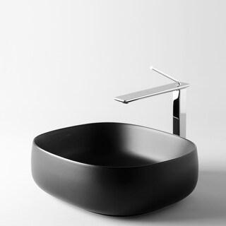 "WS Bath Collections Seed 45.40 Seed 18-1/10"" Ceramic Vessel Bathroom - Matte Black"