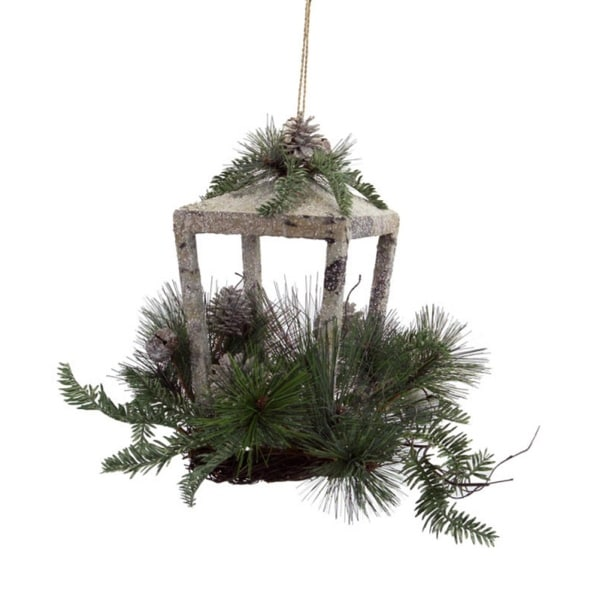 "12"" Rustic Glittered Christmas Candle Lantern with Foliage, Pine Cones and Jingle Bells"