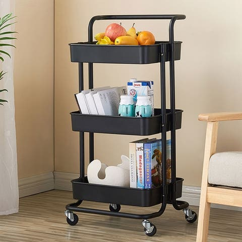 3-Tier Home Kitchen Storage Utility cart Metal&ABS -Black/White